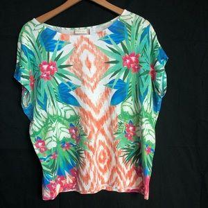 Chicos sz 2/L tropical floral top summer aloha